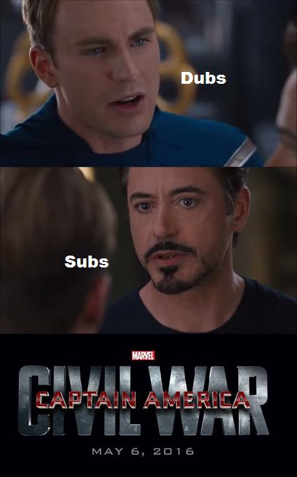 485 sub vs dub captain america civil war 4 pane captain america
