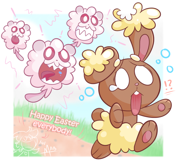 0 Happy Easter Everybody AB Pokmon X And Y Pikachu Pink Nose Flower Text Clip