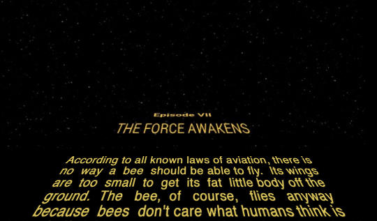 Bee Should Be Episode V THE FORCE AWAKENS According To All Known Laws Of Aviation