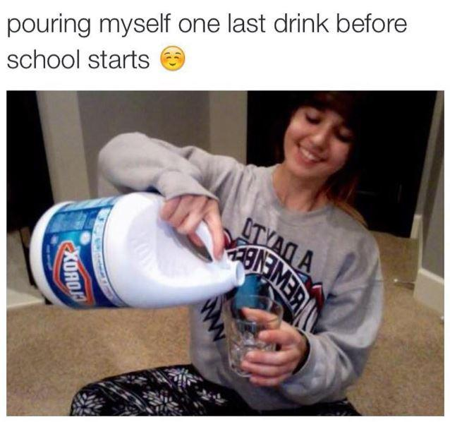 Pouring Myself One Last Drink Before School Starts