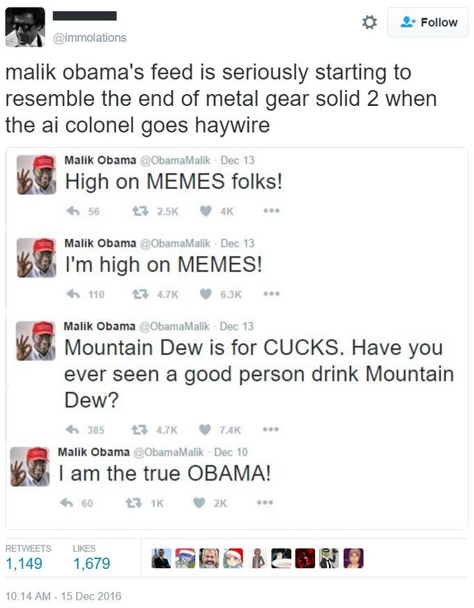 Cards Against Humanity Prongles >> Malik Obama's Twitter Feed | Cuck | Know Your Meme