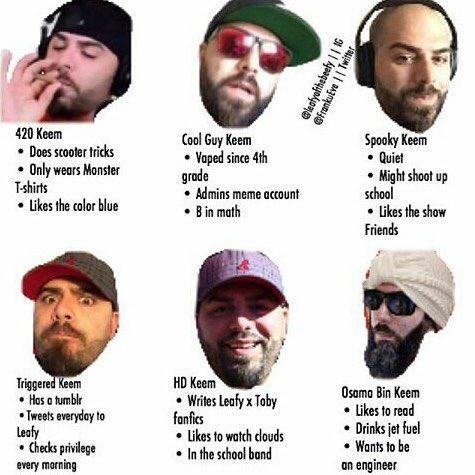 bac the many faces of keemstar tag yourself know your meme