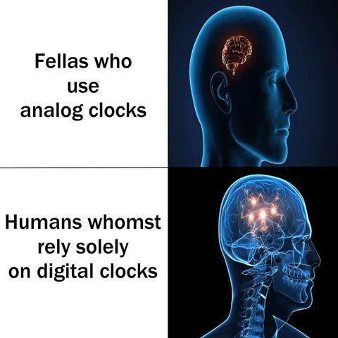 116 digital clocks expanding brain know your meme