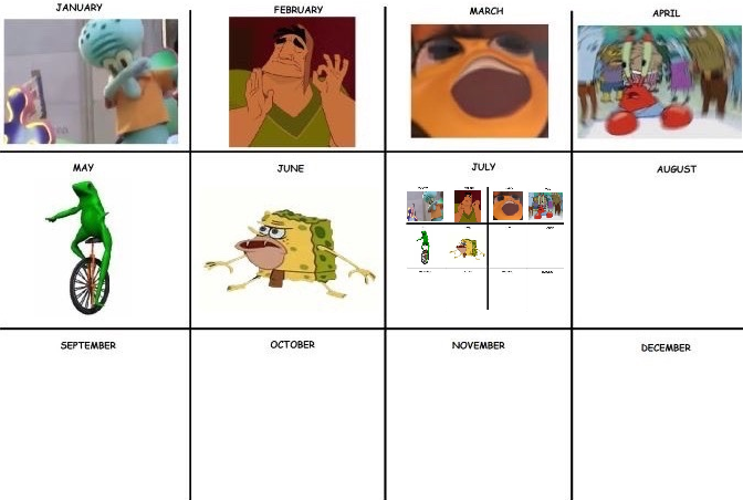 6cd meme of the month calendars know your meme