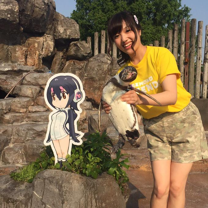 Hululu voice actress, Chikuta Ikuko, meets Grape-kun the Penguin