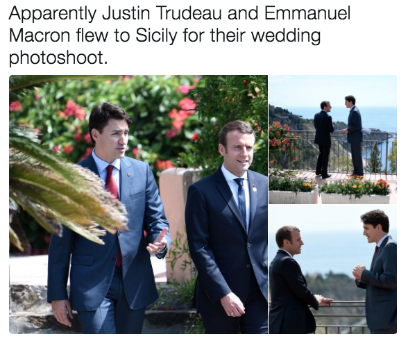 f80 wedding photoshoot emmanuel macron and justin trudeau bromance