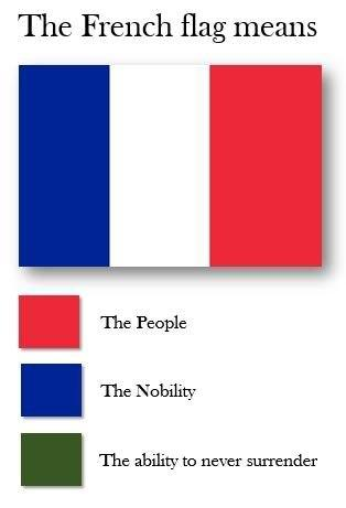 france loves to surrender | flag color representation parodies
