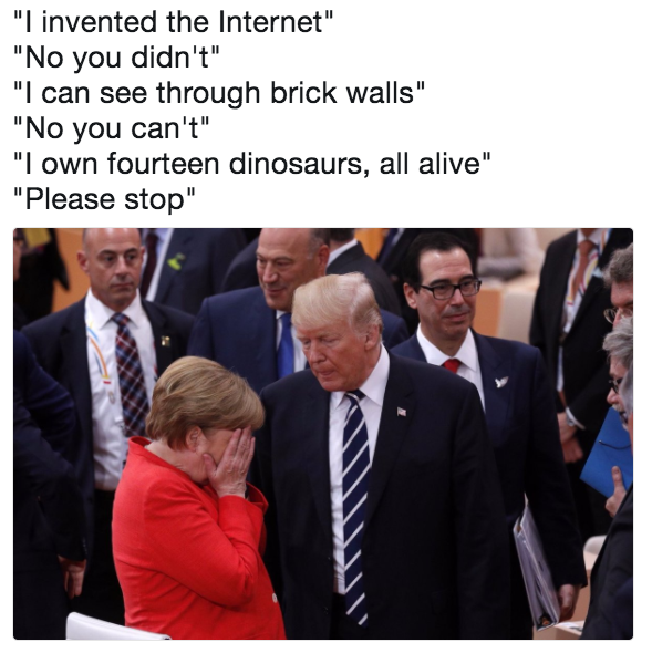 Image result for merkel with head in hands and trump