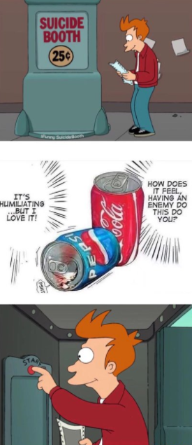 Suicide booth meme about reaction to seeing pepsi cocacola webcomic