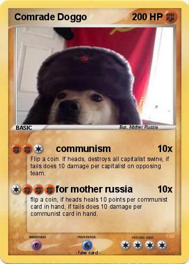example funny meme of Comrade Doggo as a Pokemon Card