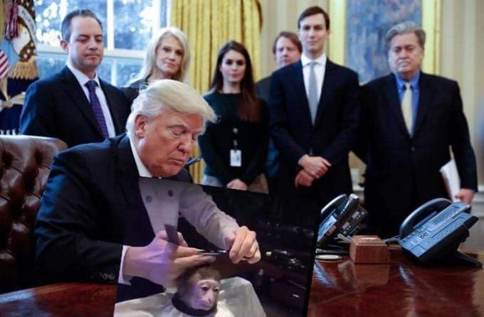 photoshop meme of President Donald Trump in the Oval Office, giving a monkey a haircut