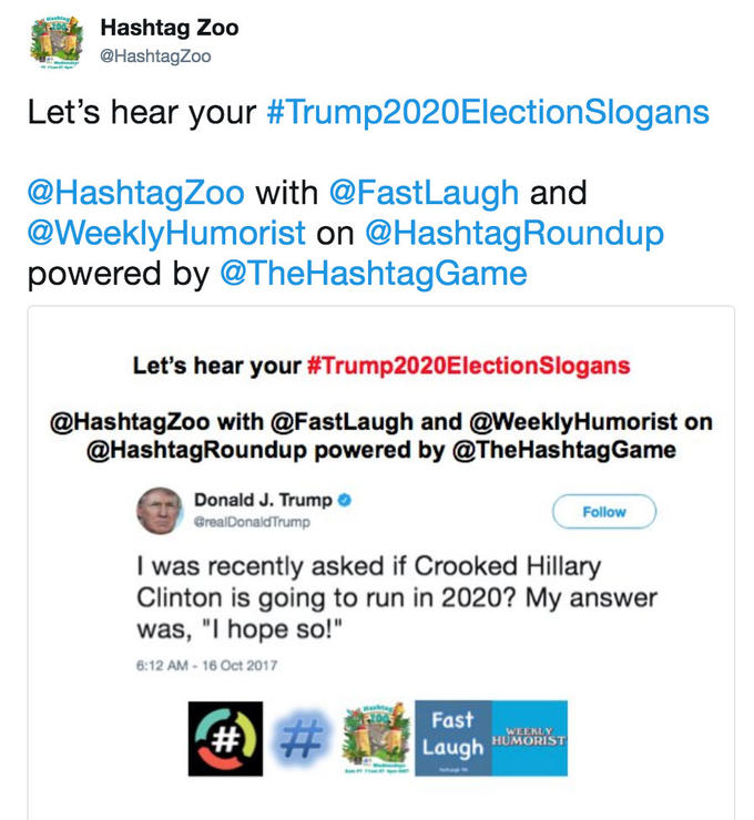 Tweet by hashtag zoo that went viral asking people for funny slogans for Trump Election 2020