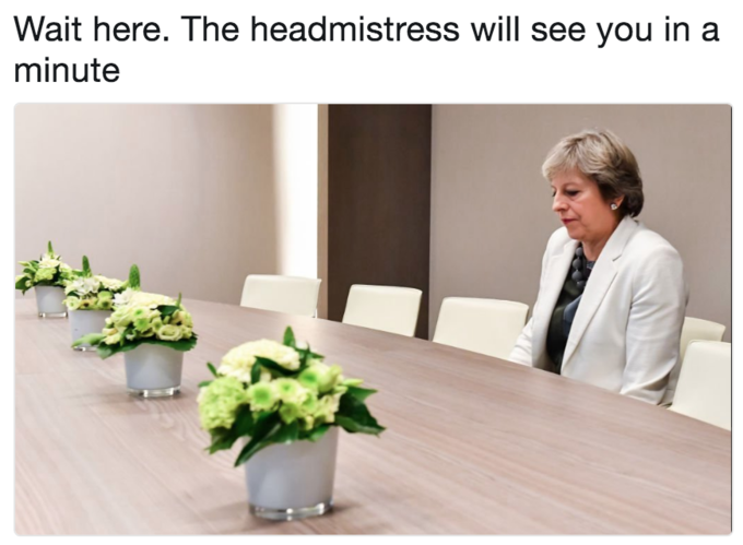 Lonely Theresa May meme as if she is in trouble with school and waiting for the head mistress