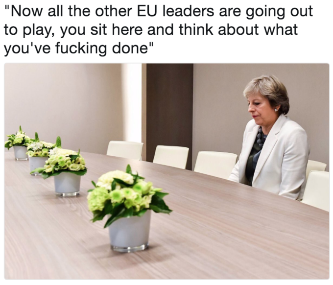 Lonely Theresa May meme as if she is being punished while the rest of the world leaders are out playing