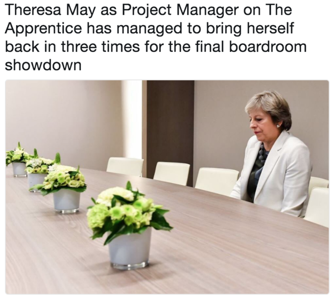 Lonely Theresa May meme as if she is about to get fired on The Apprentice boardroom