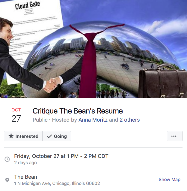 2ad critique the bean's resume chicago bean facebook events know