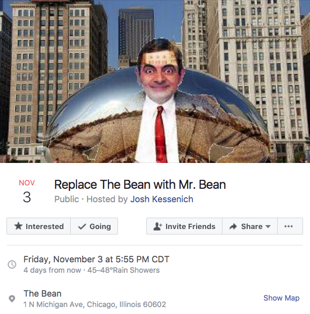 8e2 replace the bean with mr bean chicago bean facebook events