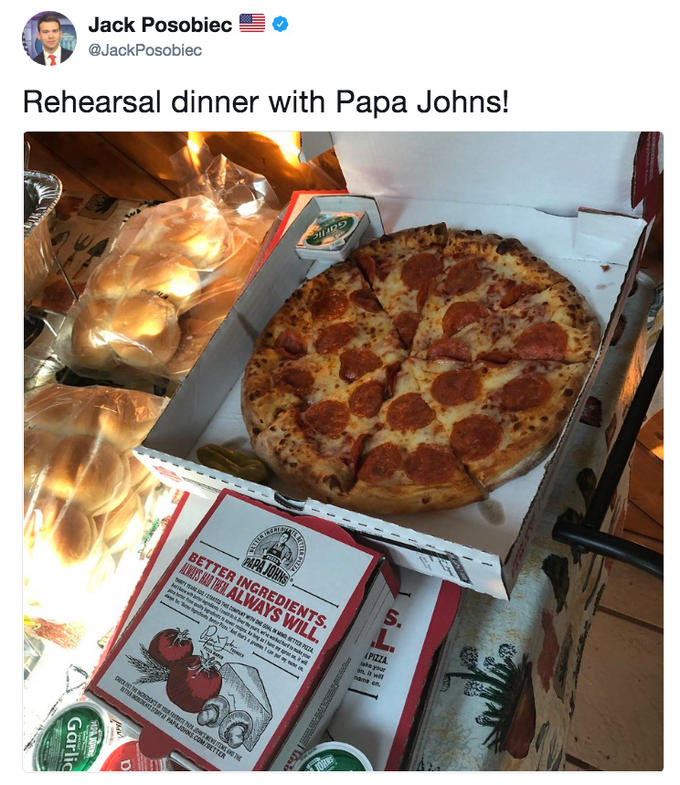 Jack Posobiec tweeting that he is having Papa Johns at his wedding rehearsal dinner