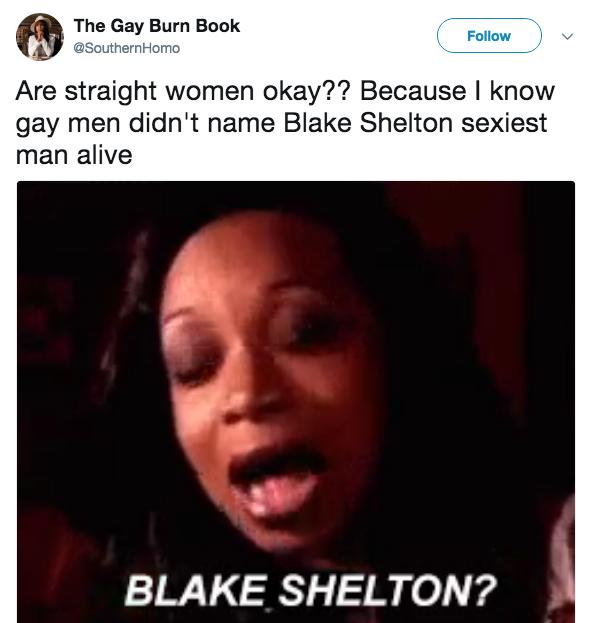 7e6 blake shelton?!?! blake shelton named sexiest man alive know,Blake Meme