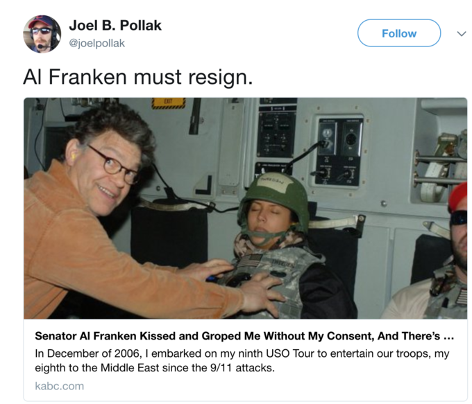 Tweet by user @joelpollak calling on Franken to resign because of the picture