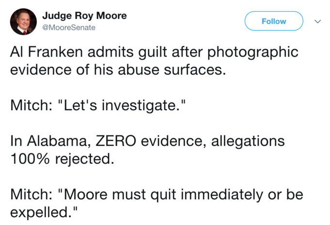 tweet by Judge Roy Moore pointing out the double standard against him with sexual allegations