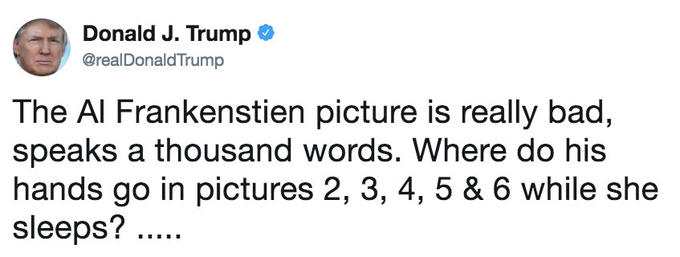 Tweet by @realdonaldtrump questioning where Al Franken's hands are in the 2nd thru 6th pictures that you didn't see
