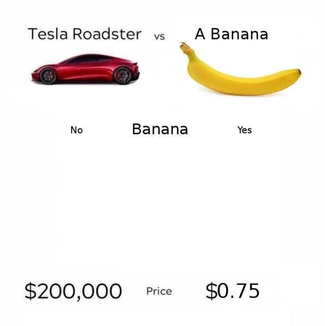 Side by side comparision of a Tesla Roadster and a banana