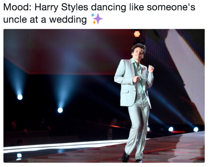 Tweet meme about how Harry Styles looks like he is an uncle dancing at a wedding