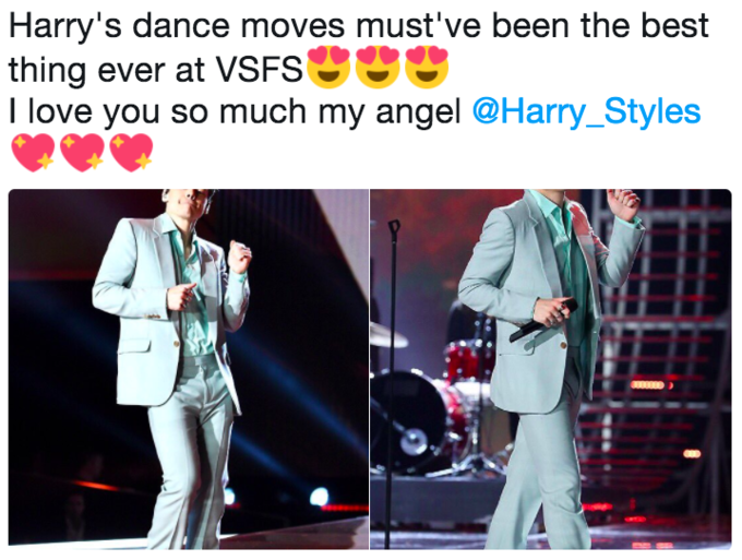 Tweet declaring that Harry Style's dancing at the Victoria Secret Fashion Show was the best part of the event
