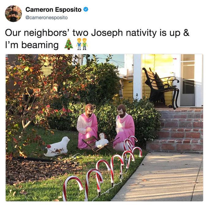 Tweet by Cameron Espoisto of her neigbors two Josephes gay nativity scene