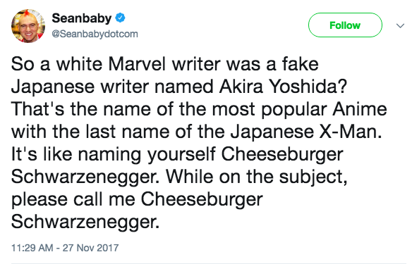 Follow Seanbabydotcom So A White Marvel Writer Was Fake Japanese Named