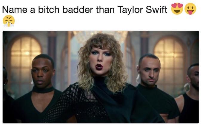 Original tweet by @xnulz challenging Twitter to name a badder bitch than Taylor Swift