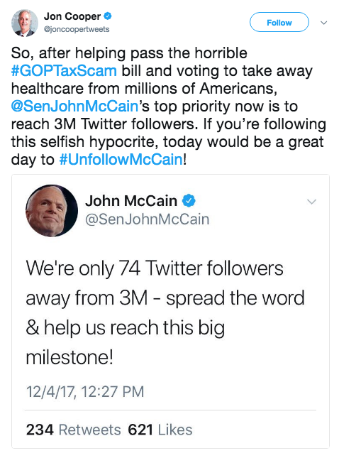 Jon Cooper tweets his disappointement at mcCain and throws in hashtag to unfollowmccain which eventual trended