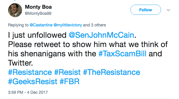 Tweet of the hashtag going viral of people unfollowing McCain and then sharing to let other know to do the same and why