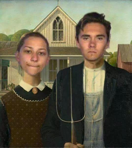 "Emma Gonzales And David Hogg In Grant Wood's ""American"