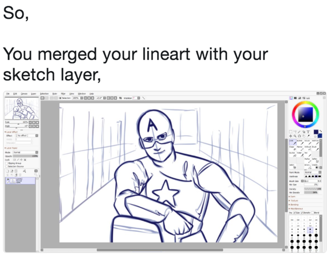 So, You merged your lineart with your sketch layer, Opping Soup
