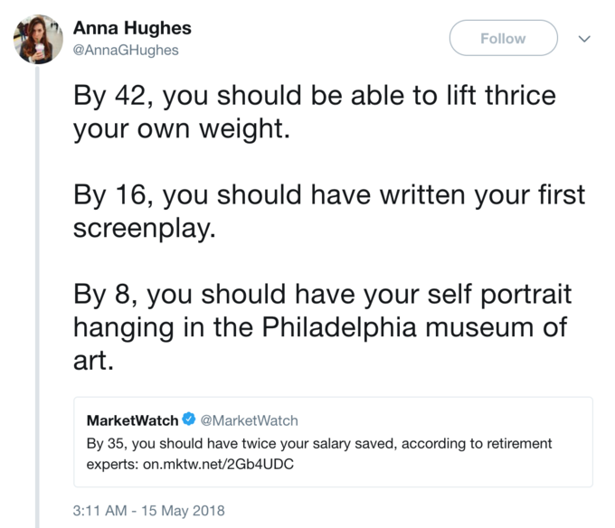 Anna Hughes Follow @AnnaGHughes By 42, you should be able to lift thrice your own weight By 16, you should have written your first screenplay By 8, you should have your self portrait hanging in the Philadelphia museum of art. MarketWatch@MarketWatch By 35, you should have twice your salary saved, according to retirement experts: on.mktw.net/2Gb4UDC 3:11 AM - 15 May 2018
