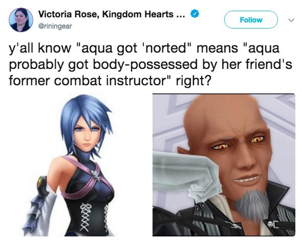 "Victoria Rose, Kingdom Hearts . @riningear Follow y'all know ""aqua got 'norted"" means ""aqua probably got body-possessed by her friend's former combat instructor"" right?"