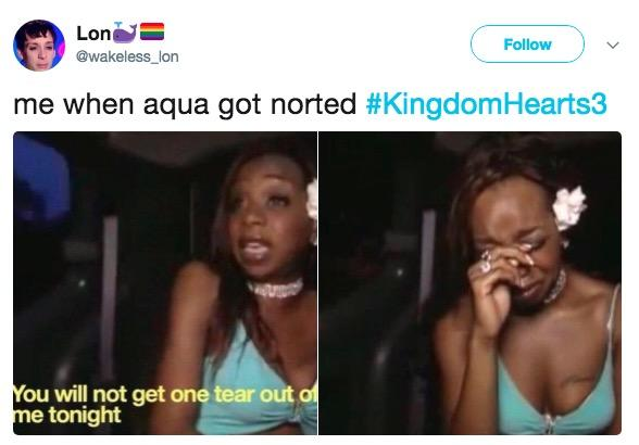 Lon Follow akeless lon me when aqua got noted #KingdomHearts3 ou will not get one tear out of me tonight