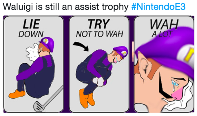 Waluigi is still an assist trophy #NintendoE3 WAH LIE DOWN TRY NOT TO WAH