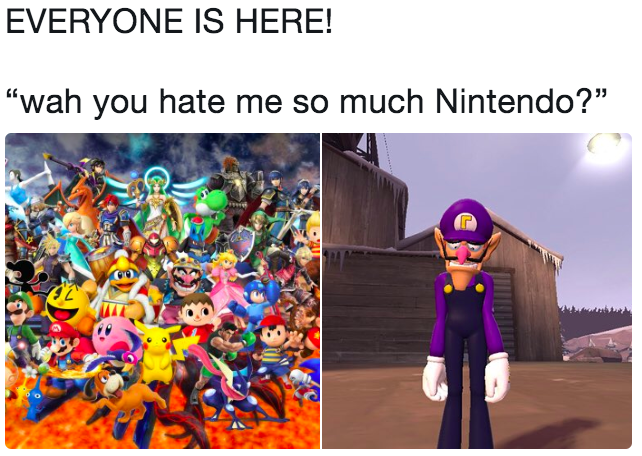 "EVERYONE IS HERE! ""wah you hate me so much Nintendo?"""