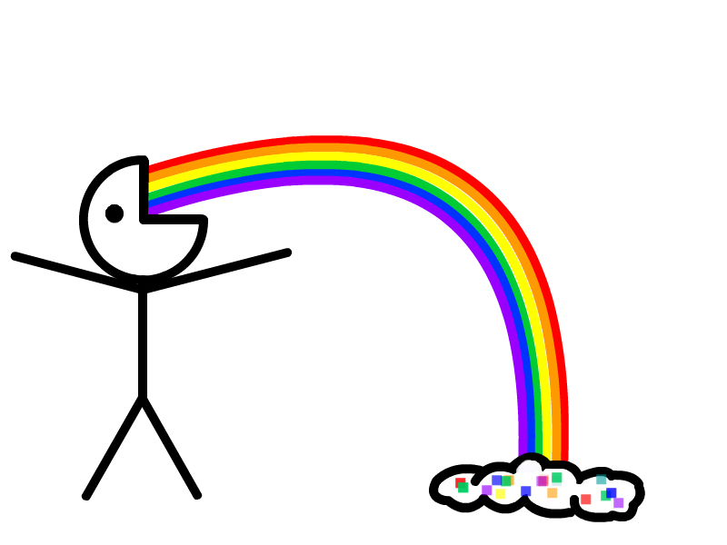 rainbow_vomit_by_a_traffic_cone d34vrhw image 118707] puking rainbows know your meme