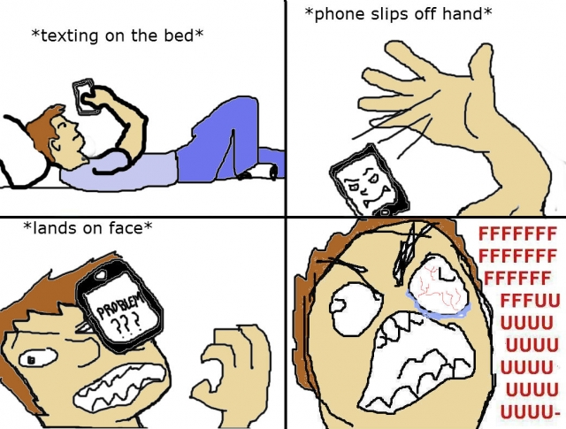 Drop phone on face meme