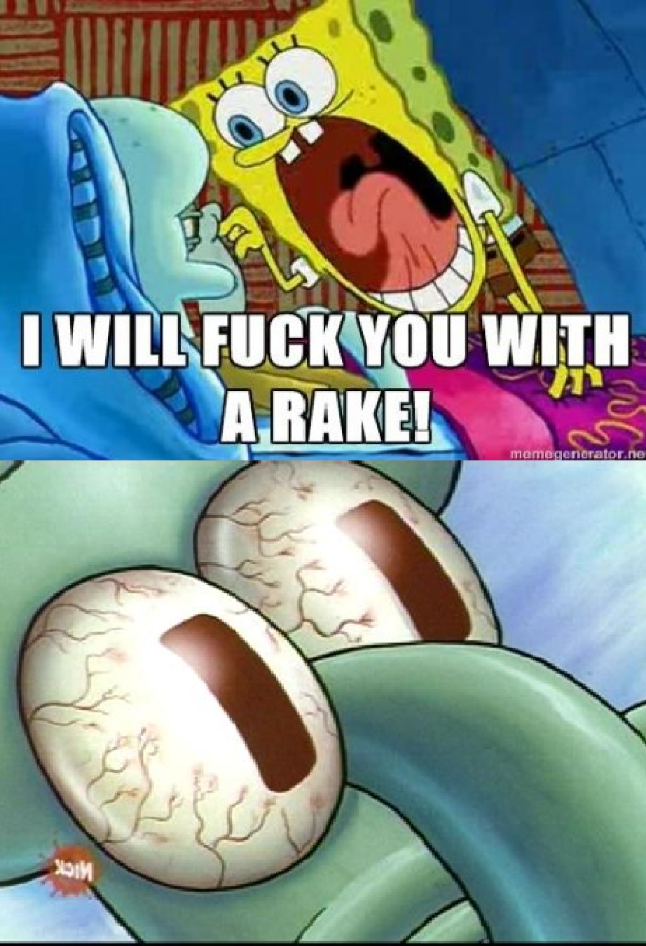 you with a rake sleeping squidward know your meme