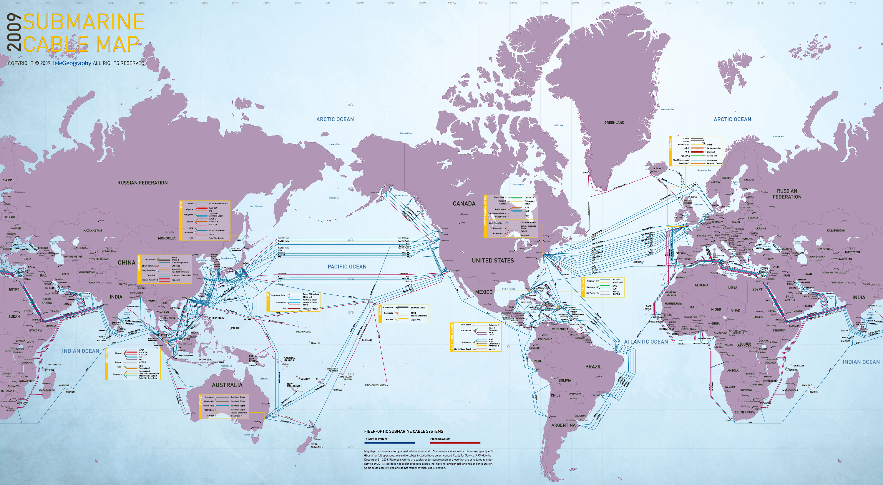 The World Map Of Submarine Communications Cable Infographic - Australia map infographic