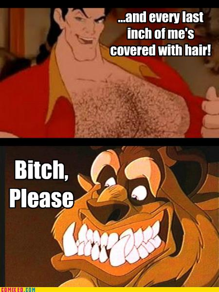 7a1 no one's covered in hair like the beast! gaston know your meme