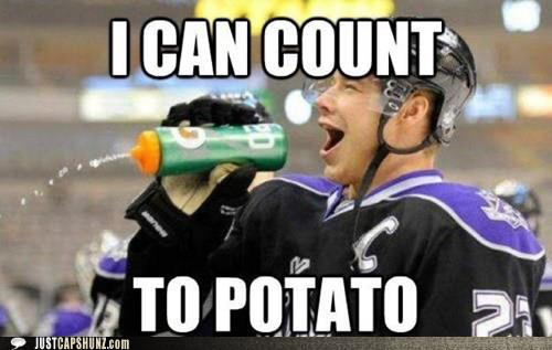 e26 dustin brown la kings i can count to potato know your meme,La Kings Memes