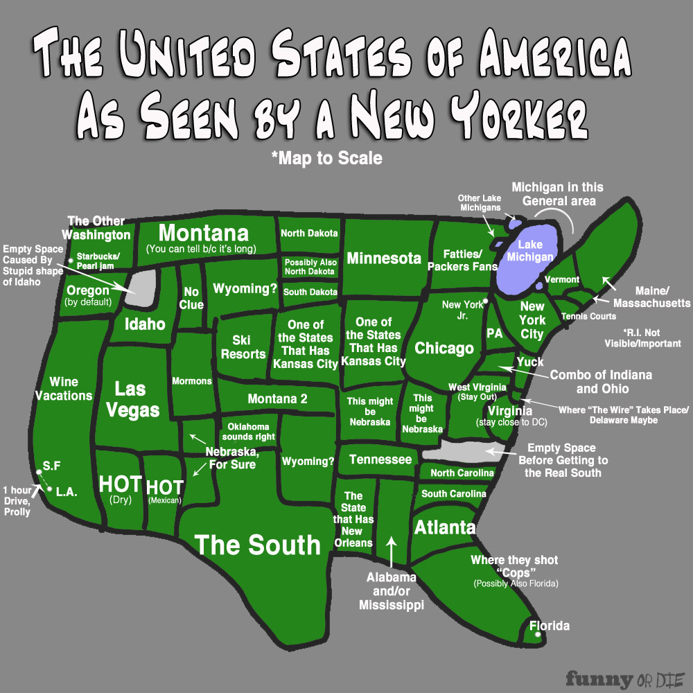 The Map of America As Seen by a New Yorker  The World According
