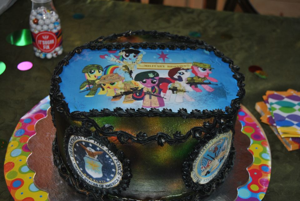 A mom made her 13 year old son a military brony birthday cake and