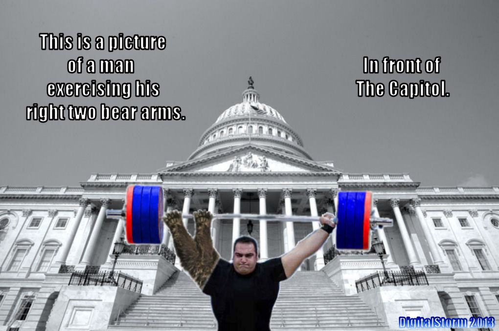 09a this is a picture of a man exercising his right two bear arms in,The Right To Bear Arms Meme